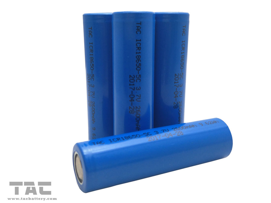 High Power ICR18650 3.7V 2600mAh 9.62Wh Lithium Ion Cylindrical Battery